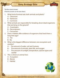 Easy Ecology Quiz View  4th Grade Science Worksheets ...