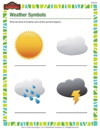 Weather Symbols  Printable Science Worksheet for 1st