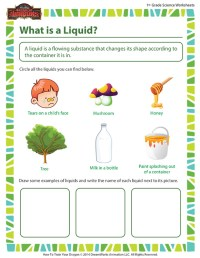What is a Liquid? Worksheet \ First Grade Science Online