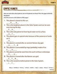 Cryptic Planets 5th Grade Science Printables Online