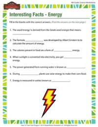 Interesting Facts  Energy  4th Grade Science Worksheets ...