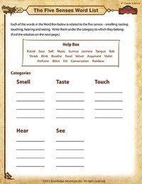The Five Senses Word List  4th Grade Science Worksheets
