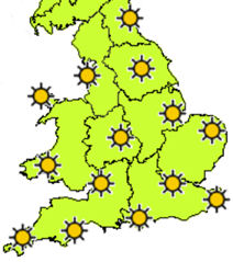 Sunshine on map