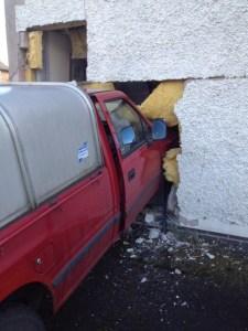 LIVING ROOM DEMOLISHED IN MARKET DRAYTON CRASH 1