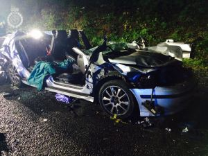 TWO MEN INJURED AFTER CAR ENDS UP PARTIALLY WEDGED BENEATH LORRY 200914