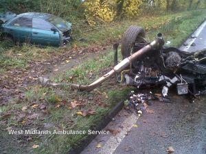 Car splits in two in Coventry