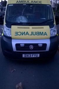 Ambulance windscreen smashed by brick in Birmingham1