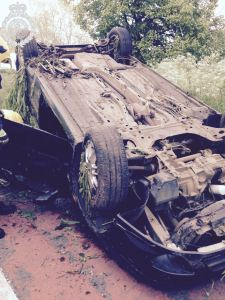 Overturned car on A449 in Worcestershire
