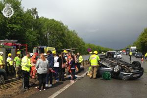 Overturned car on A46 in Warwickshire 2