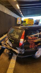 Car into crash barrier after collision with lorry on M6 15-08-15
