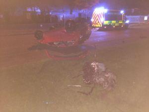 Overturned car in Aldridge 22-11-15