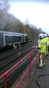 Train fire at Lapworth railway station