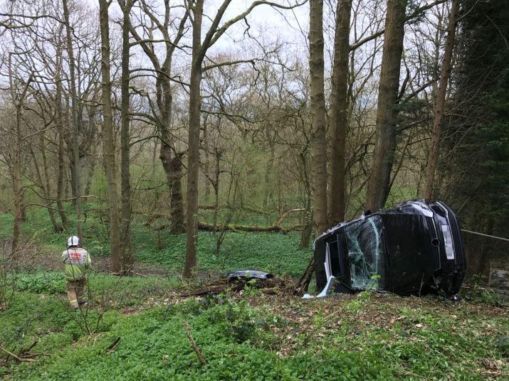 Car ends up down malvern hillside