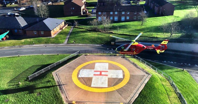 Midlands Air Ambulance landing at Royal Stoke University Hospital