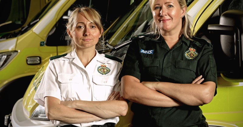 Ambulance - Natalie Greaves and Natalie Calow in front of ambulance