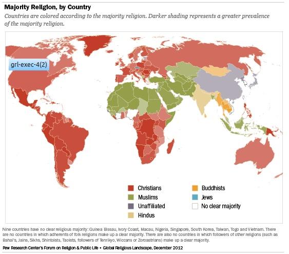 Pew's Religion Map
