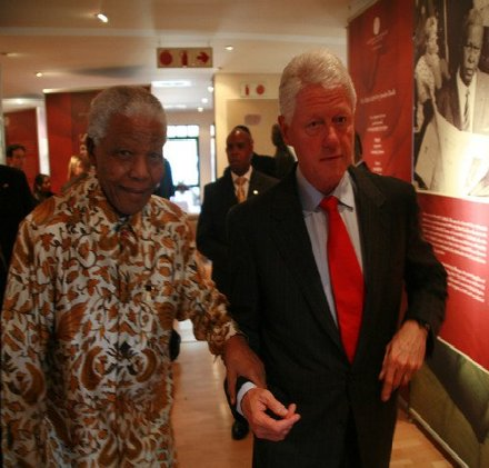 Nelson Mandela and Bill Clinton