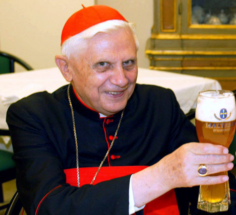 The Pope has a cold one
