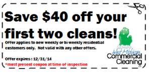 West Michigan Commercial Cleaning Save $40 Promotion