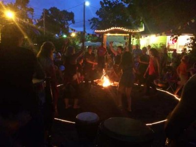 Dancers and musicians gather for a Florida School of Holistic Living moon circle, photo by Amy Kiley