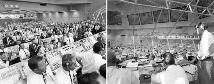 At left, members of the launch team listen to a post-launch talk by Vice President Spiro Agnew. At right, Apollo Director Samuel Phillips monitors prelaunch activities.