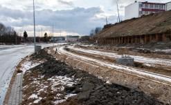 Budowa linii tramwajowej przy ulicy Obiegowej (2 stycznia 2015)