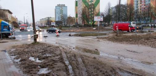 Budowa linii tramwajowej na placu Ofiar Katynia (2 stycznia 2015)