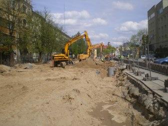 Budowa linii tramwajowej w ulicy Kościuszki (30 kwietnia 2015)