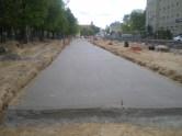 Budowa linii tramwajowej w ulicy Kościuszki (10 maja 2015) - podbudowa pod torowisko między ulicami Kołobrzeską i Mickiewicza
