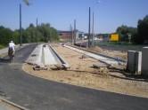 Budowa linii tramwajowej przy ulicy Tuwima (15 sierpnia 2015) - przystanek końcowy Uniwersytet-Prawocheńskiego