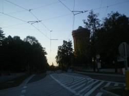 Budowa linii tramwajowej na skrzyżowaniu ulic Żołnierskiej i Obiegowej (15 sierpnia 2015)