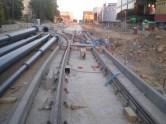 Budowa linii tramwajowej w alei Piłsudskiego (15 sierpnia 2015)