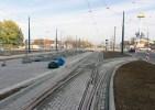 Linia tramwajowa na placu Konstytucji 3 Maja (31 października 2015) - przystanek końcowy Dworzec Główny i zjazd na tor techniczny do zajezdni
