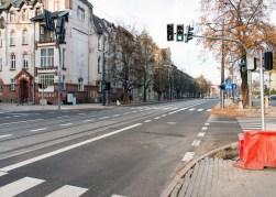 Linia tramwajowa w ulicy Kościuszki (31 października 2015) - skrzyżowanie z ulicą Mickiewicza