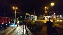 Solaris Tramino Olsztyn S111O #3001 na przystanku Dworzec Główny podczas pierwszego przejazdu próbnego (19 listopada 2015)