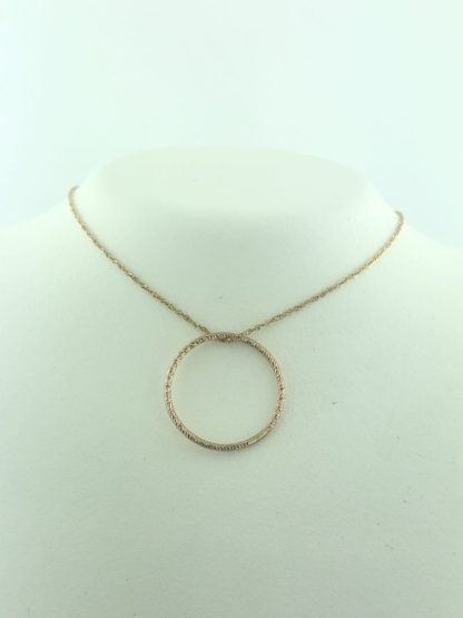 14K ROSEGOLD NECKLACE WITH CIRCLE PENDANT/1G/19""