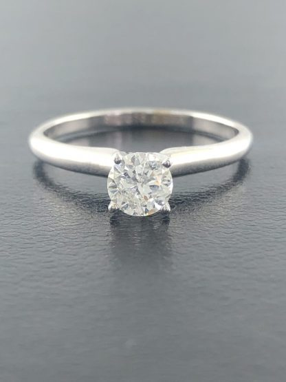 """14 WHITE GOLD SOLITAIRE ENGAGEMENT RING/0.51CT TDW/SIZE 6"""""""