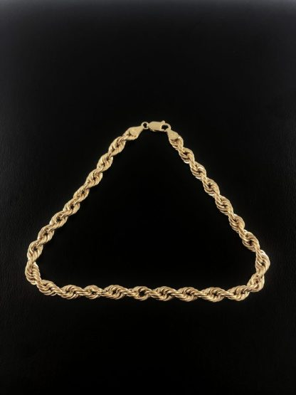 10K YELLOW GOLD ROPE BRACELET/3..6G/SIZE 9""