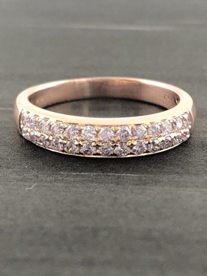 "14K ROSE GOLD AND DIAMOND WEDDING BAND/3.80G/SIZE 8"""