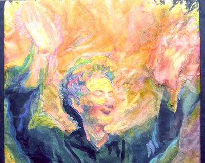 Painting of a man, hands raised , all aflame.
