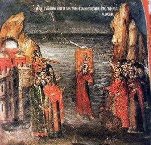 Monk Gabriel rescuing the icon of the Panagia on the water