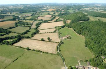 Aerial shot of rural Worcestershire