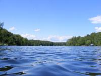 Blue lake in summer