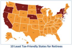 10 Least Tax Friendly States