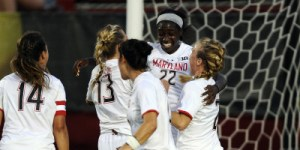 The Terps celebrate their 2-0 victory over Rutgers in the inaugural Big Ten home game in College Park, Md. (Courtesy of UMTerps.com)