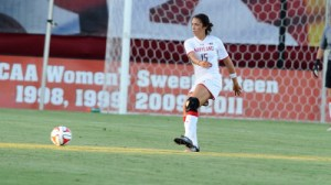 Erika Nelson came close to an equalizer in the 89th minute but her header was unsuccessful. (Courtesy of UMTerps.com)