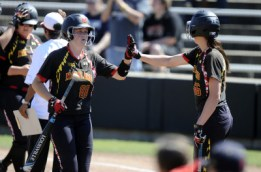 Lindsey Schmeiser ties home run record in loss to Rutgers. (Courtesy of UMTerps.com)