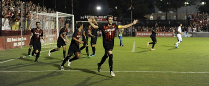 Mael Corboz celebrates after giving Maryland a 1-0 lead. (Courtesy of UMTerps.com)