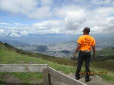 MSW Student Zachary Henderson surveys the view over Quito, Ecuador