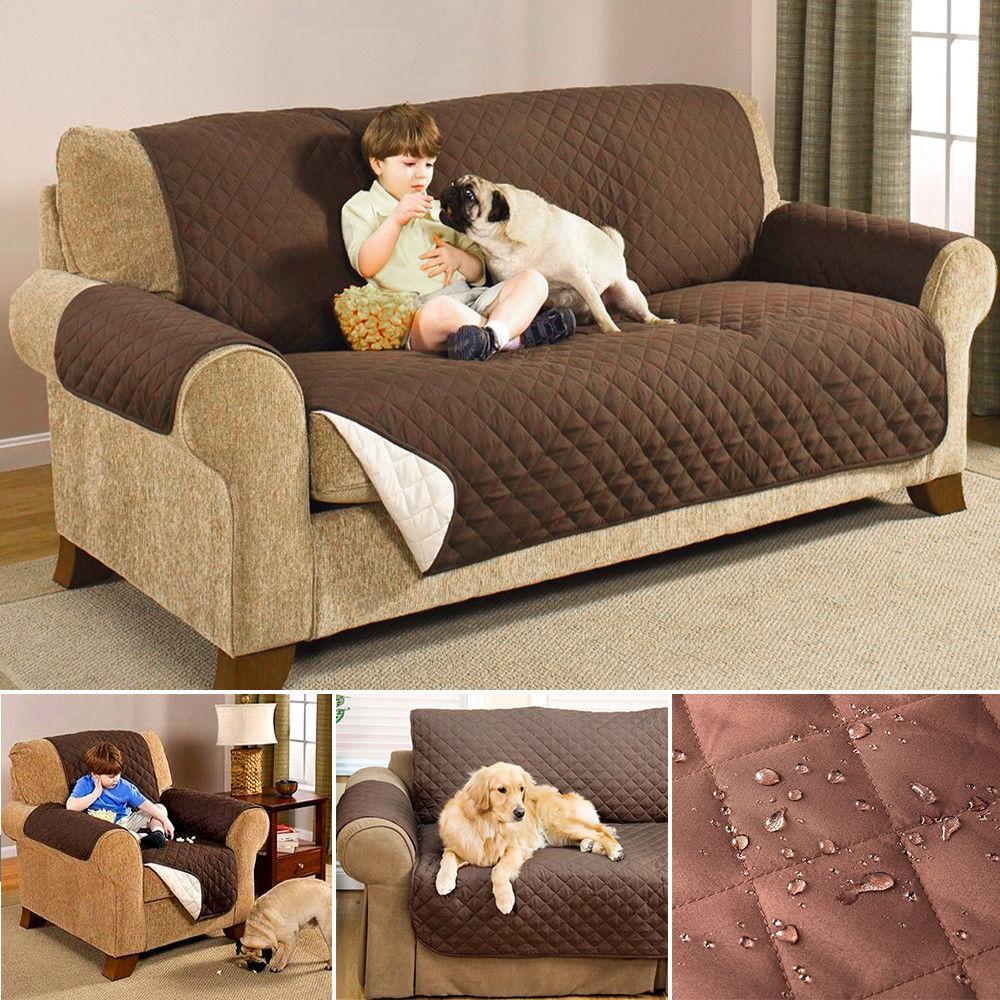 beige chair covers buy metal rocking runners quilted sofa couch protector throw furniture pet cover water resistant | ebay